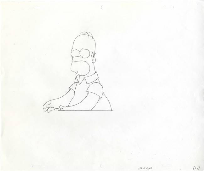 Original Production Drawing of Homer Simpson from a Simpsons Commercial (c. 1990s)
