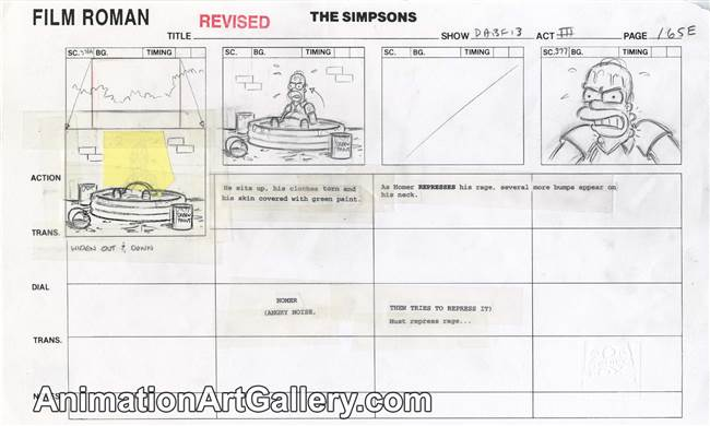 Storyboard of Homer Simpson from I Am Furious Yellow
