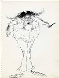Original Character drawing of a smoking moustache man by Tim Burton
