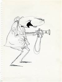 Character Drawing of a Man with a Camera from Tim Burton