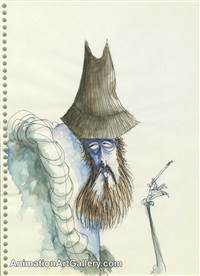 Character drawing of a Smoking Man from Tim Burton