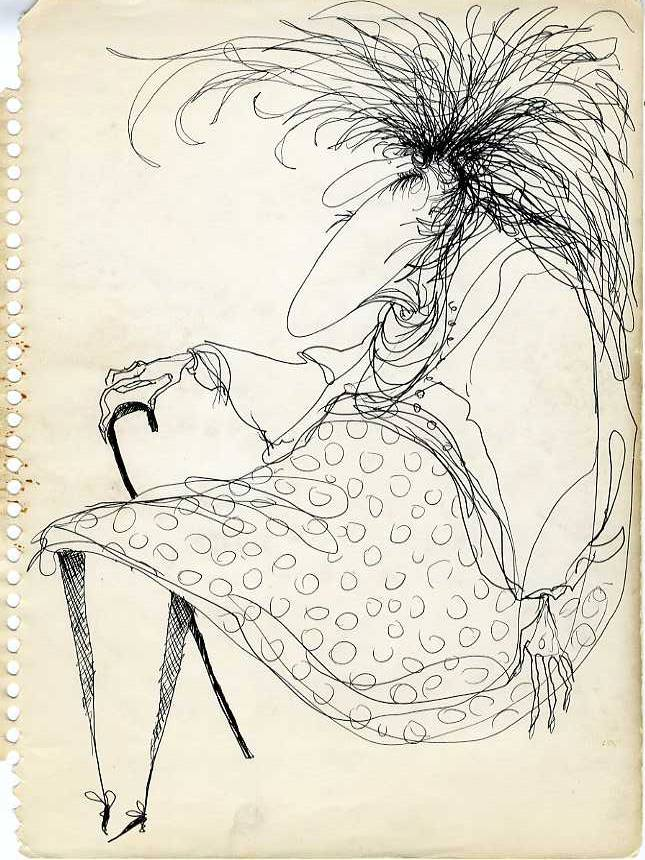 Original Character drawing of a seated woman with cane by Tim Burton