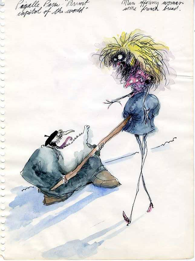 Original Character drawing of a lewd man and woman by Tim Burton