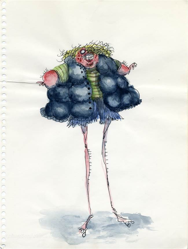 Character Drawing of a Person in a Puffy Jacket from Tim Burton