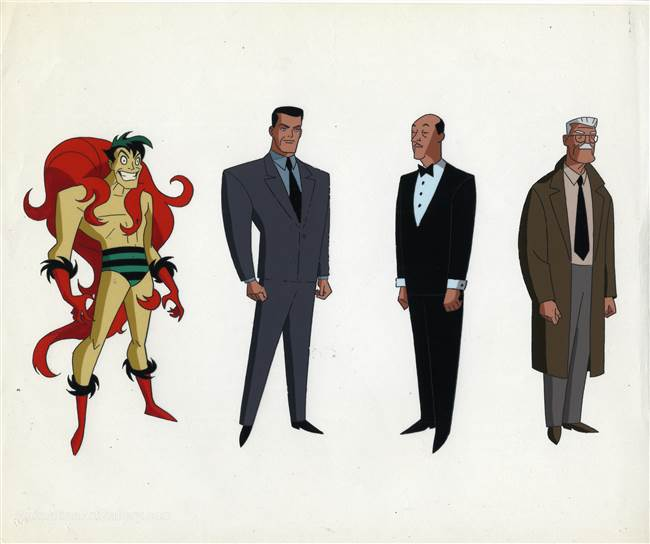 Original Production Color Model Cel of the Creeper, Jack Ryder, Alfred Pennyworthy, and James Gordon from New Batman Adventures