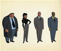 Original Production Color Model Cel of Harvey Bullock, Renne Montoya, Hamilton Hill, and Lucius Fox  from New Batman Adventures