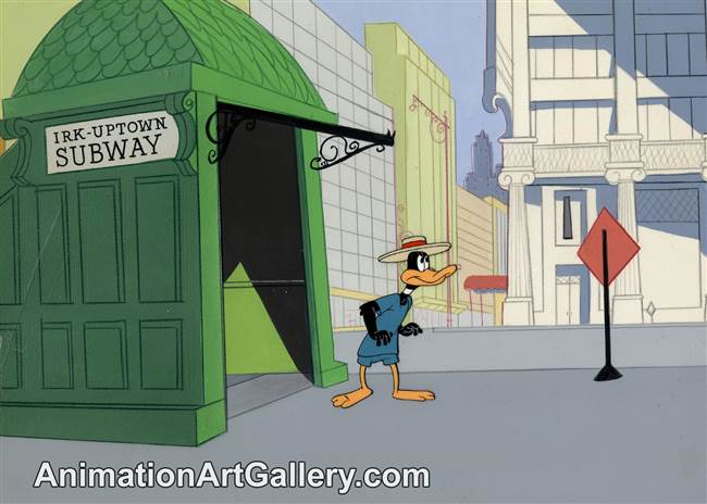 Production Cel of Daffy Duck from Muscle Tussle