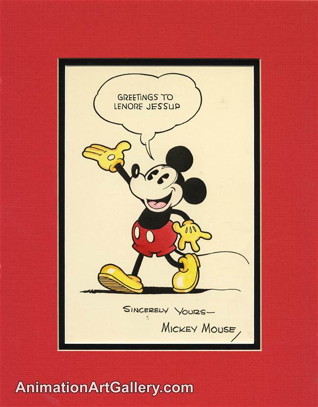 Character Drawing of Mickey Mouse from Disney Studios (c. 1930s)