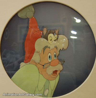 Courvoisier Cel of Geppetto and Figaro from Pinocchio