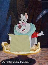 Production Cel of the White Rabbit from Alice in Wonderland