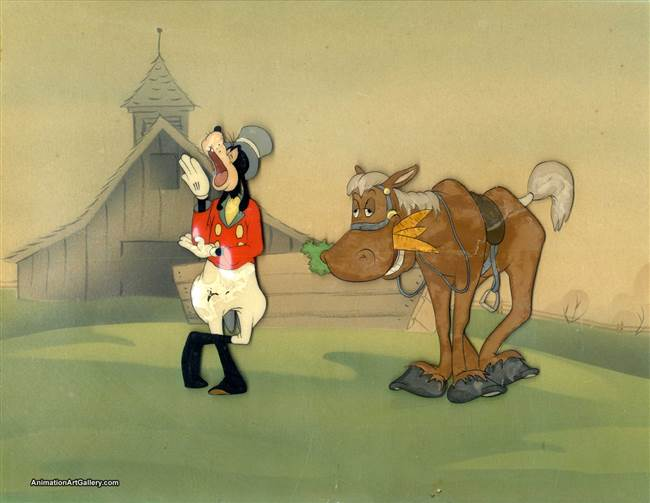 Original Production Cel of Goofy and Horse from How to Ride a Horse