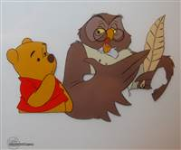 Production Cel of Winnie the Pooh and the Owl from Pooh from Winnie the Pooh and a Day For Eeyore