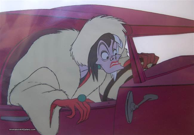 Production Cel of Cruella De Vil from 101 Dalmatians