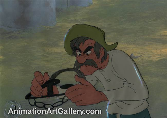 Production Cel of Amos Slade from The Fox and the Hound