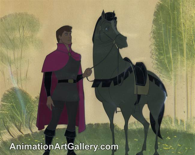Disneyland Cel Set-up of Prince Phillip and Samson the Horse from Sleeping Beauty