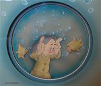 Courvoisier Cel of Dopey and some fish from Snow White and the Seven Dwarfs