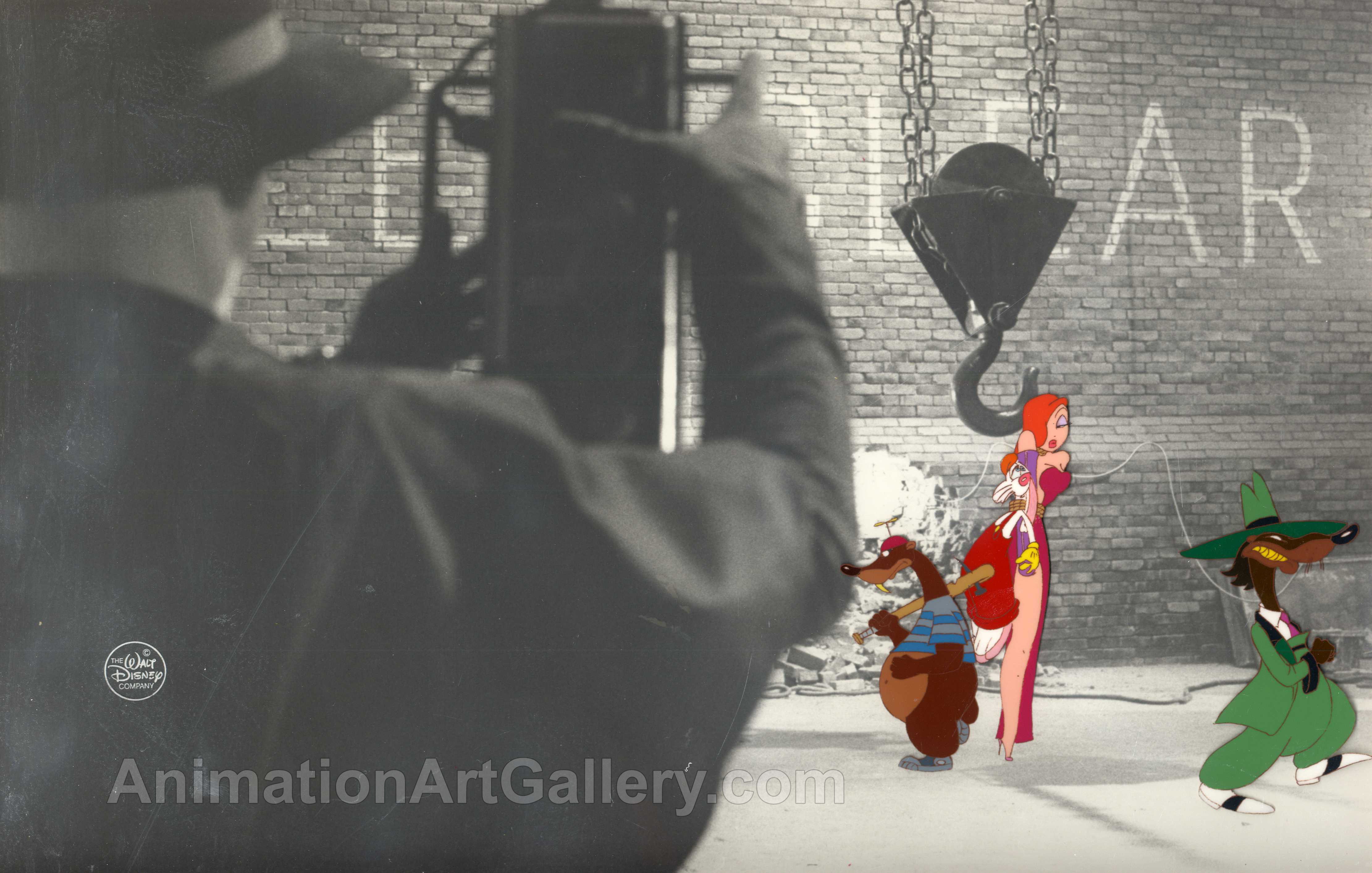 Original Production cel of Roger Rabbit and Jessica Rabbit from Who Framed Roger Rabbit?