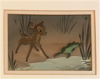 Courvoisier Cel of Bambi and a frog from Bambi
