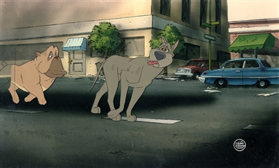 Production Cel of Einstein and Francis from Oliver and Company