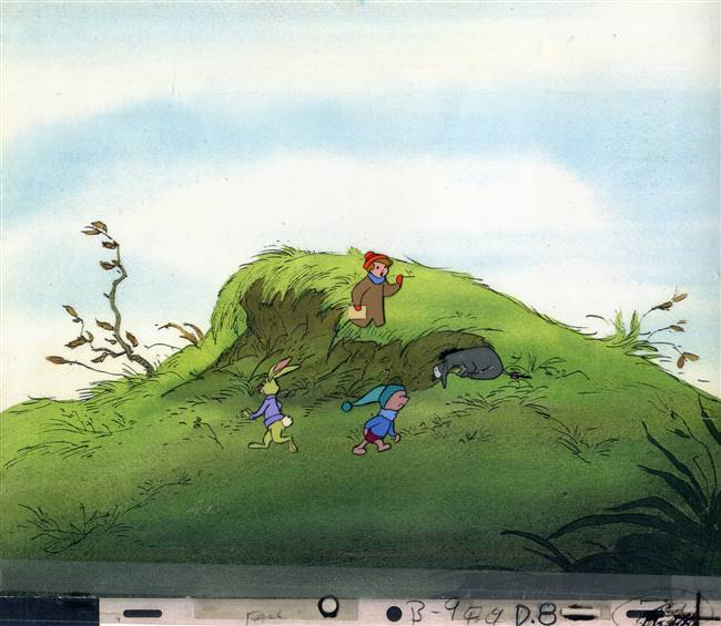 Original Production Cel of Christopher Robin, Eeyore, Piglet and Rabbit from Seasons (1981)