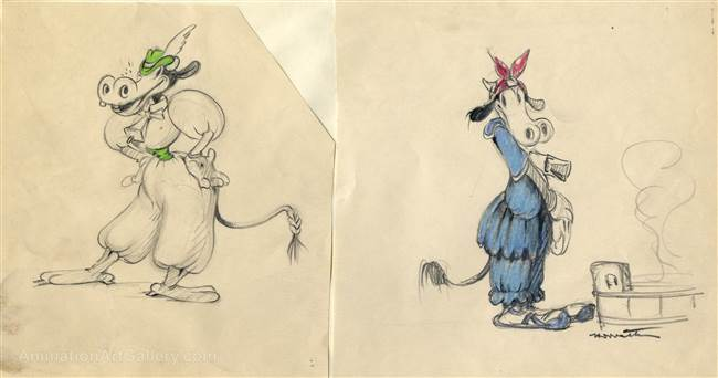 Original Production Character Drawings of Clarabelle Cow