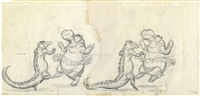 Original Production Model Drawing of Hyacinth Hippo and Ali Gator from Fantasia (1940)