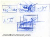 Storyboard of Dodger and Roscoe or DeSoto from Oliver and Company