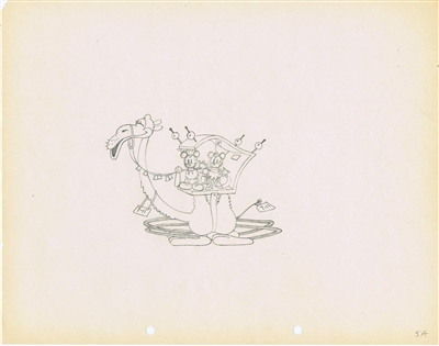 Production Drawing of Mickey Mouse and Minnie Mouse from Mickey in Arabia