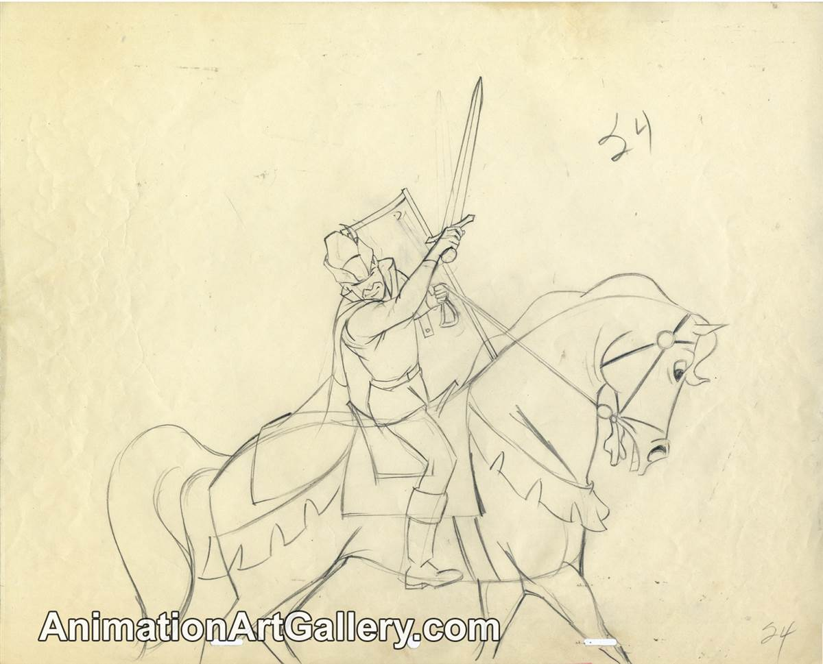 Production Drawing Of Prince Phillip And Samson The Horse From Sleeping Beauty