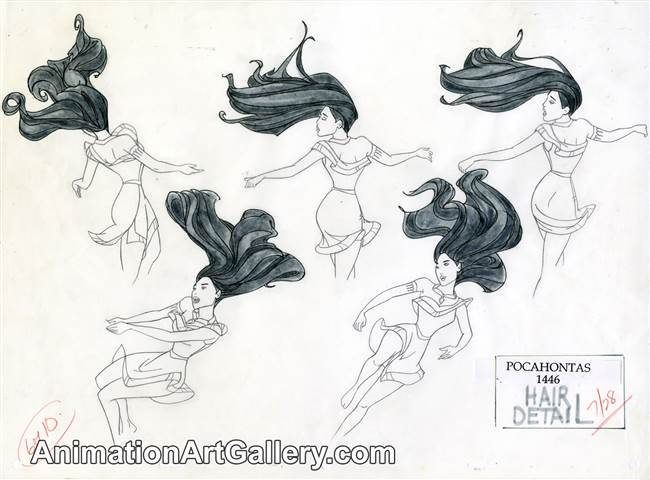 Model Sheet Drawing of Pocahontas from Pocahontas