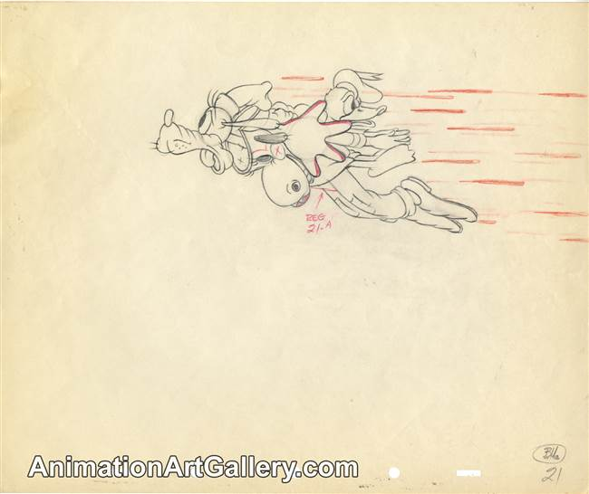 Production Drawing of Goofy and Donald Duck from Moose Hunters