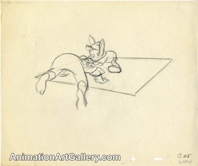 Production Drawing of Pinocchio and Geppetto from Pinocchio