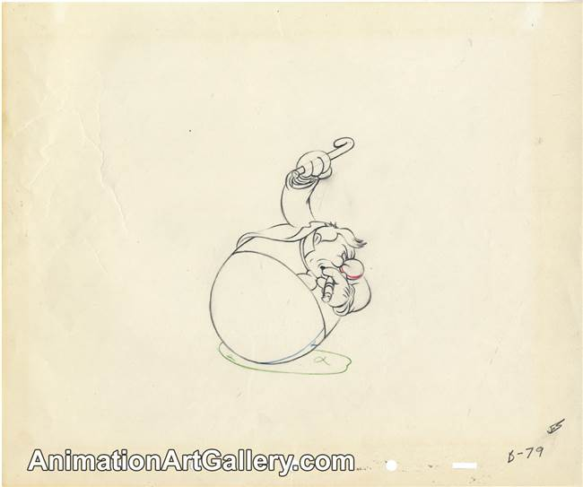Production Drawing of W.C. Fields from Mother Goose Goes Hollywood