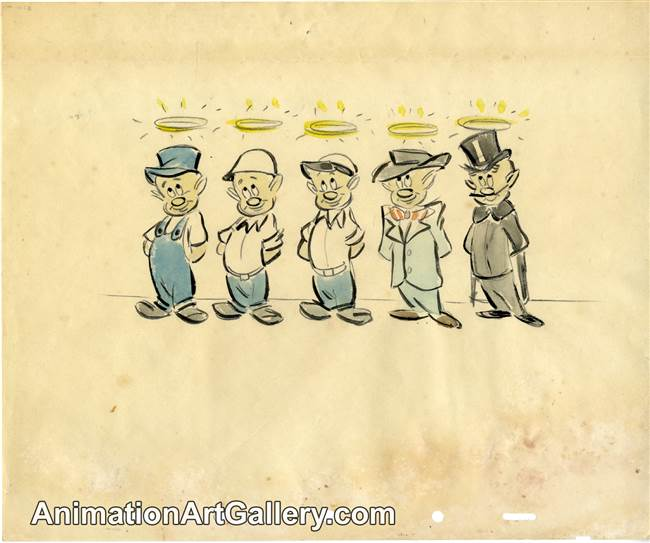 Character Drawing of some saints from Disney Studios (c. 1940s)