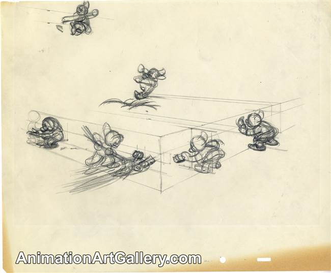 Production Drawing of some dwarfs from Snow White and the Seven Dwarfs