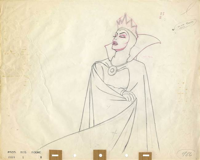 Production Drawing of the Evil Queen from Snow White and the Seven Dwarfs