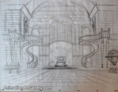 Layout Drawing of Belle and the library from Beauty and the Beast