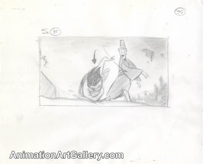 Storyboard of Chi Fu and Mulan from Mulan