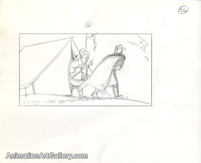 Storyboard of Shang and the army medic from Mulan