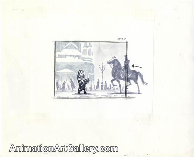 Storyboard of the Little Matchgirl and a horseman from The Little Matchgirl