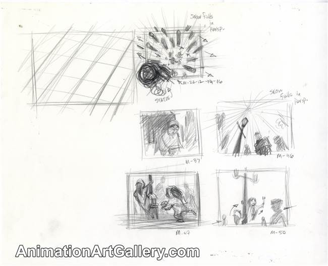 Storyboard of the Little Matchgirl and some people from The Little Matchgirl