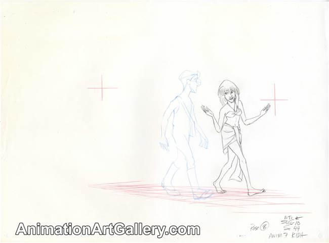 Production Drawing of Milo James Thatch and Kida from Atlantis: The Lost Empire