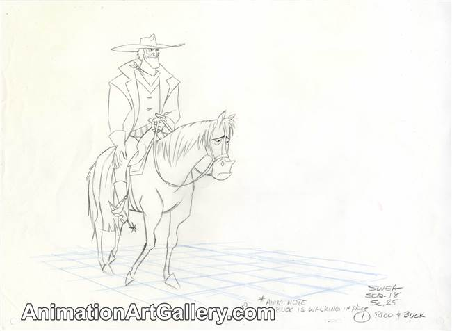 Production Drawing of Rico and Buck from Home On the Range