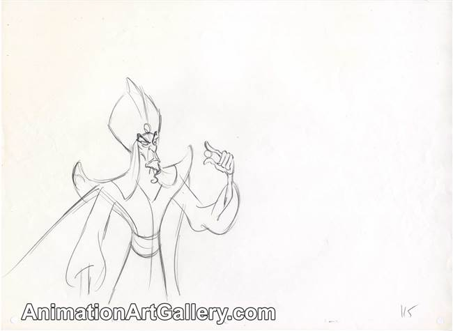Original Production Drawing of Jafar from Aladdin