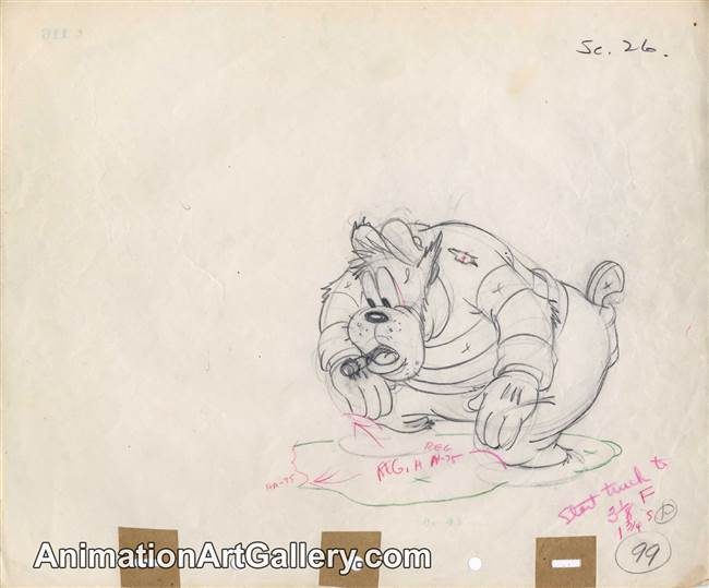 Original Production Drawing of Pete from Officer Duck