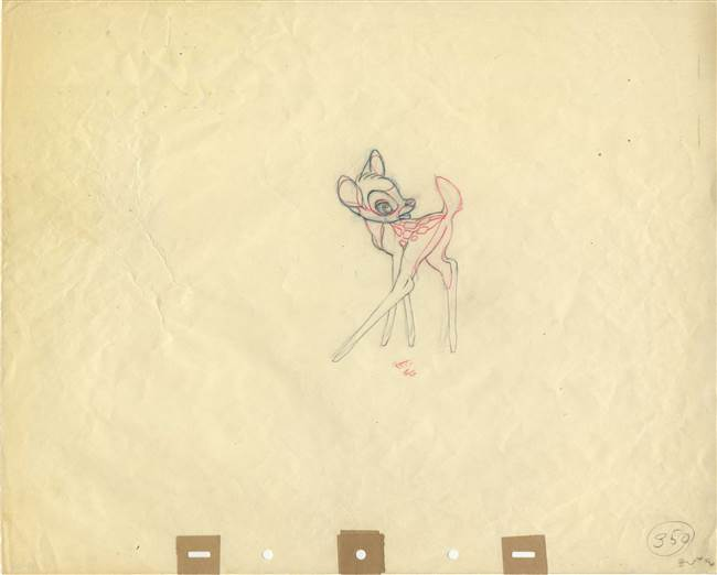 Original Production Drawing of Bambi from Bambi