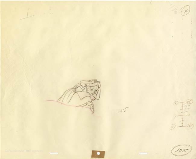 Original Production Drawing of Alice from Alice in Wonderland