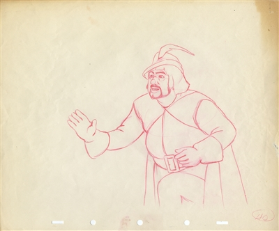 Original Production Drawing and matching Photostat of the Huntsman from Snow White and the Seven Dwarfs