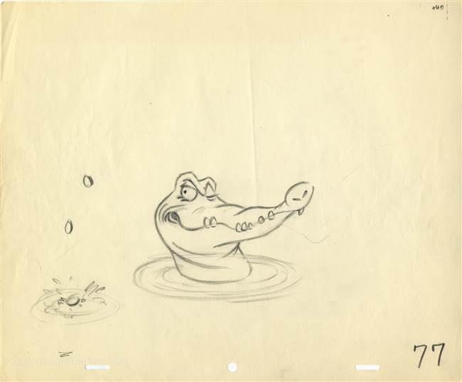 Original Production Drawing of Tic-Toc from Peter Pan