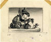 Original Storyboard Drawing of Pinocchio and Jiminy Cricket from Pinocchio